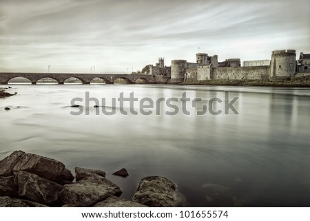 King John's Castle is a castle located on King's Island in Limerick, Ireland, next to the River Shannon.Black and white photo - stock photo