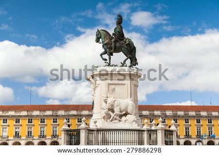 King Jose statue at Commerce square - Praca do commercio in Lisbon - Portugal - stock photo