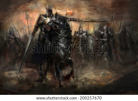 king leading his army in war - stock photo