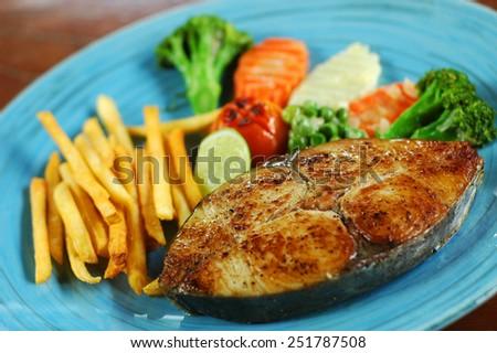 King Mackerel Steak - stock photo