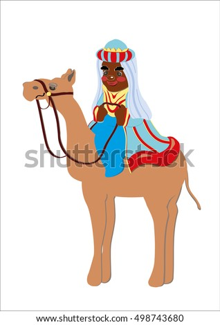 King magus camel, black man, wearing traditional dress, a symbol of the epiphany, shown on a white background,