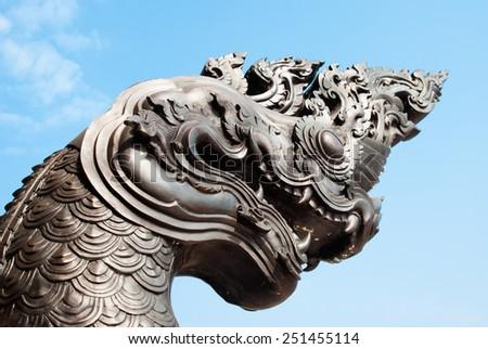 king naga thai dragon statue - stock photo