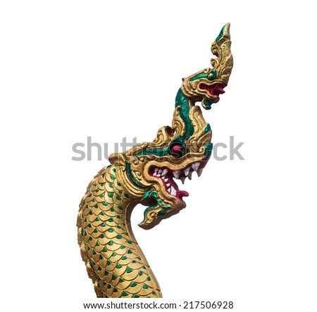 king of Naga statue, Serpent head statue on the white background - stock photo