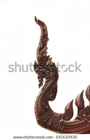 King of Nagas in Thailand temple on white background