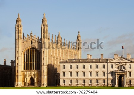 King's College, Cambridge. View of the chapel. - stock photo