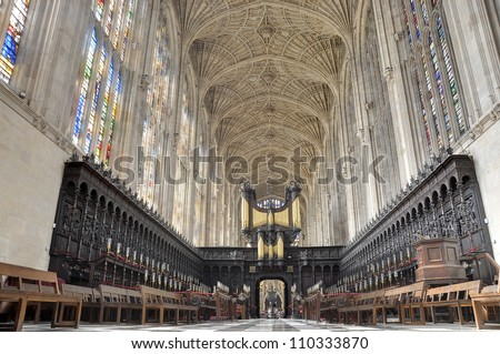 King's College Chapel, Cambridge. Interior seen from high altar, with the world's largest fan vault. - stock photo