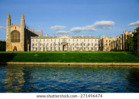 King's college from the river Cam, Cambridge, England - stock photo