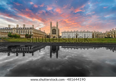 King's College with beautiful dramatic sky and black and white reflection Cambridge, UK