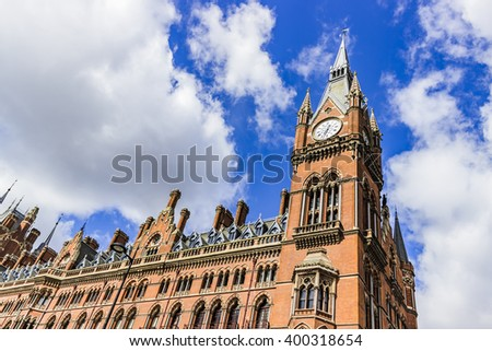 King's cross St Pancras tube and train station in London.  - stock photo