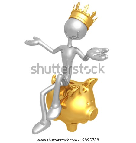 King Sitting On Piggy Bank - stock photo