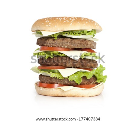 King size hamburger isolated on white background