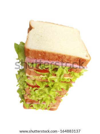 King Size Sandwich with bacon and cheese on white background