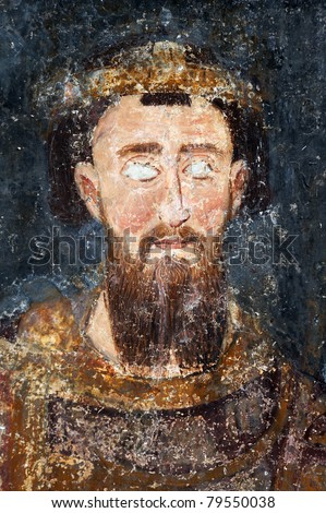 King Stefan Prvovencani, fresco painting from Monastery Mileseva near Prijepolje, Serbia - stock photo
