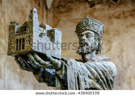 King Willam offering Monreale cathedral to Virgin Mary. The Cathedral of Monreale is a good example of Norman architecture. - stock photo