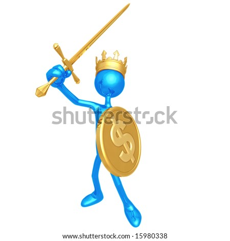 King With Dollar Coin Shield - stock photo