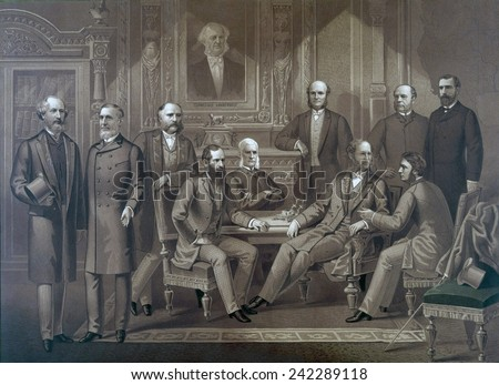 Kings of Wall Street, 1882. Left to right: Cyrus Field, Russell Sage, Rufus Hatch, Jay Gould, Sidney Dillon, Darius Ogden Mills, William H. Vanderbilt, August Belmont, George Ballou, James R. Keene