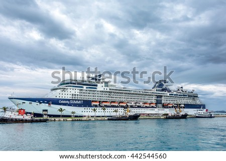 KINGS WHARF,BERMUDA, MAY 25 - The Celebrity Summit cruise ship docked at the Royal Naval Dockyard on May 25 2016 in Bermuda. - stock photo