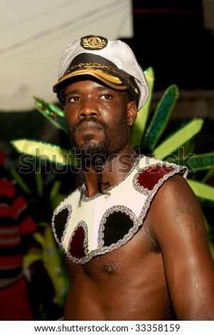 KINGSTOWN - JULY 7: Reveler enjoys Carnival, one of the largest cultural events in the Caribbean  July 7, 2009 in Kingstown, St Vincent & the Grenadines.