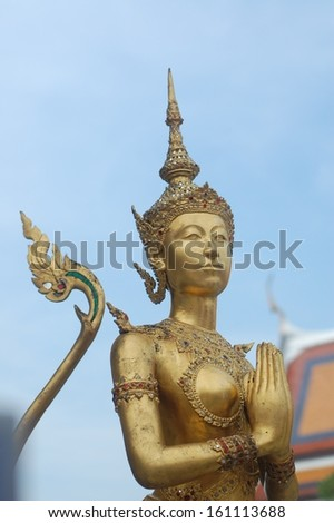 Kinnareee statue in Thai king palace