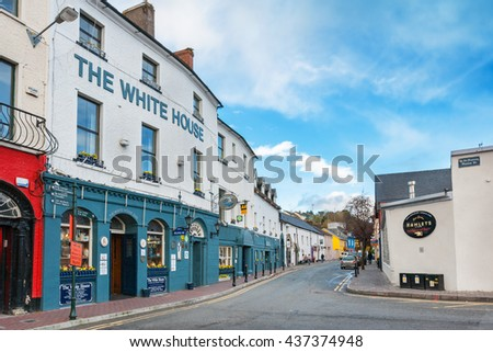 KINSALE, IRELAND - NOVEMBER 6, 2010: Kinsale is a historic port and fishing town in County Cork, one of the most picturesque, popular and fashionable resorts of the south-west coast of Ireland - stock photo