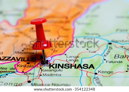 Kinshasa pinned on a map of Africa  - stock photo