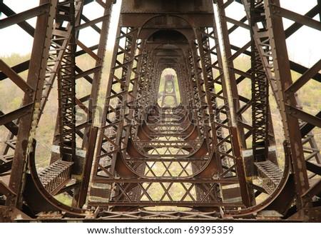 Kinzua Bridge Viaduct steel corridor - stock photo