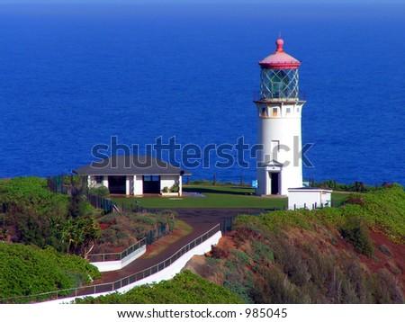 Kipuu Lighthouse, Kauai - stock photo