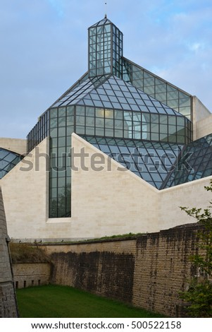 Kirchberg Plateau, Luxembourg City, Luxembourg - October 10, 2016: The Grand Duke Jean Museum of Modern Art (Mudam)