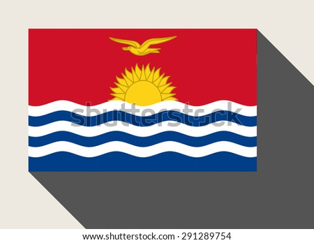 Kiribati flag in flat web design style. - stock photo