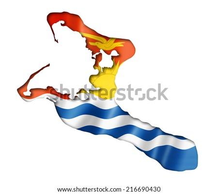 Kiribati flag map, three dimensional render, isolated on white - stock photo