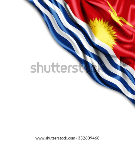 Kiribati   flag of silk with copyspace for your text or images and white background
