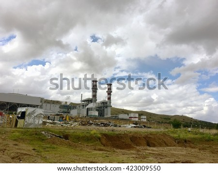 KIRIKKALE, TURKEY - 4 MAY, 2016: Kirikkale Natural Gas Combined Cycle Plant, Yahsihan.Power plant is a 950MW plant being constructed in Kirikkale.It will operate at a net electricity generating 59%.