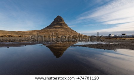 Kirkjufell ,Iceland famous landscape, with reflection