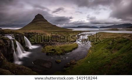 kirkjufell waterfall - stock photo