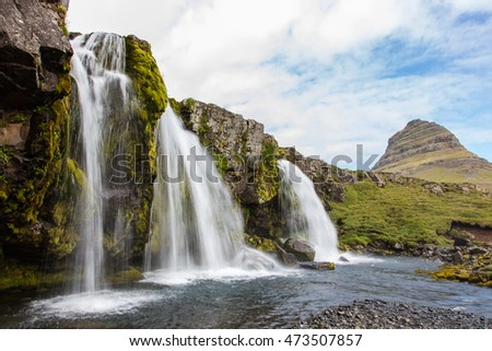 Kirkjufellsfoss waterfall near the Kirkjufell mountain on the north coast of Iceland's Snaefellsnes peninsula