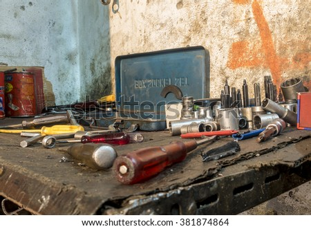 Kirkuk, Iraq - December 16, 2015: Old workshop in Iraq used for refurbishing damages and old cars