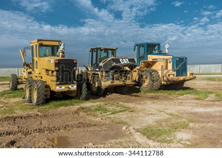 Kirkuk, Iraq - November 27, 2015: Industrial heavy machinery in Iraqi desert in construction project