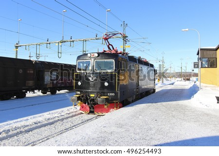 Kiruna ,Sweden ; March 5, 2015 : The Locomotive was moving to connect its train car in kiruna staion
