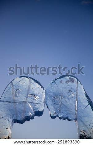 KIRUNDA, SEDEN - FEB 2015 :Two Minds, art installation carved in Ice in Sweden - stock photo