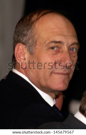 "KIRYAT GAT, ISR - FEB 22:Ehud Olmert on Feb 22, 2006.He served as Prime Minister of Israel from 2006 to 2009 and in July 2012 he was convicted on ""breach of trust"" and acquitted on two fraud counts."