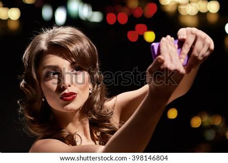 kiss lady selfie - stock photo