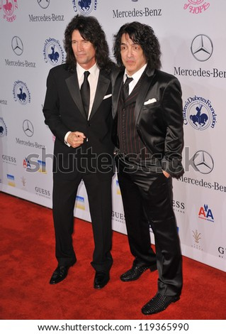 KISS stars Tommy Thayer (left) & Paul Stanley at the 26th Carousel of Hope Gala at the Beverly Hilton Hotel. October 20, 2012  Beverly Hills, CA Picture: Paul Smith