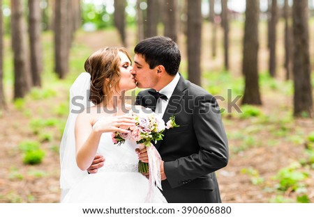 Kiss the bride and groom - stock photo