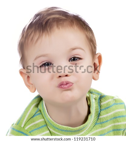 kissing baby boy - stock photo