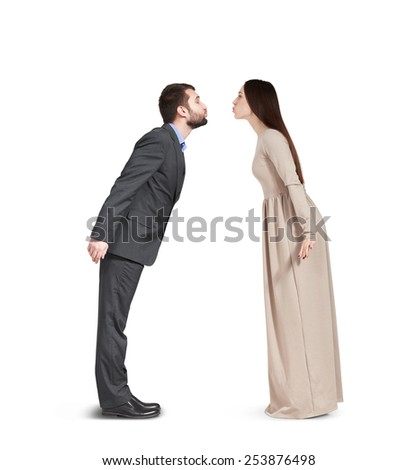 kissing couple in love isolated on white background - stock photo