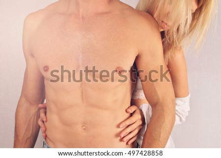 Kissing Couple . Love, Sex, Foreplay, Relationship, Tenderness concept