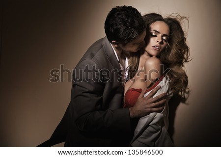 Kissing lovers - stock photo