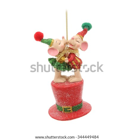 Kissing mice and on hat. Christmas decoration isolated on a white - stock photo