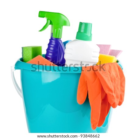 Kit for cleaning on white background