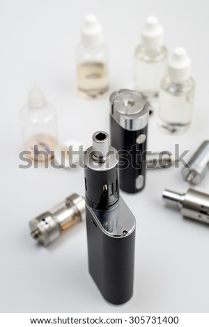 kit for healthy smoking on  wooden table, close up - stock photo
